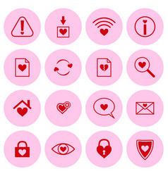 Set of web icons with heart symbols vector