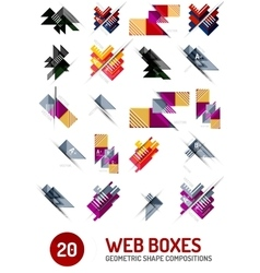 Set of web internet boxes with buttons and sample vector