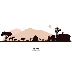 Silhouette farming and animal husbandry vector