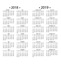 Simple calendar for 2018 and 2019 years template vector