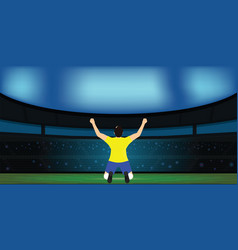 soccer player celebrating goal on a soccer stadium vector image