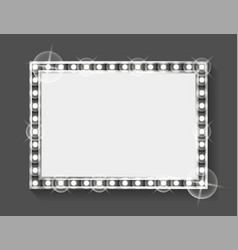 square frame with shining and bulbs empty banner vector image