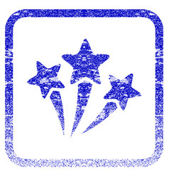 Star fireworks framed textured icon vector