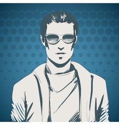Stylish young guy portrait vector