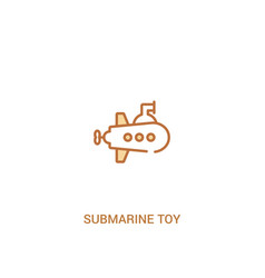 Submarine toy concept 2 colored icon simple line vector