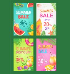 summer sale posters set offer vector image