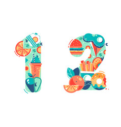 summer seasonal numbers one two and twelve vector image