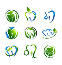 tooth logo set dental medical healthcare concept vector image