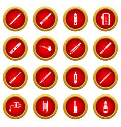 Vaping icon red circle set vector
