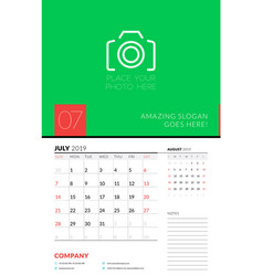 Wall calendar planner template for july 2019 week vector