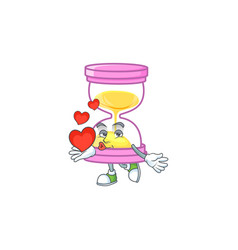 With heart icon sandglass in cartoon character vector