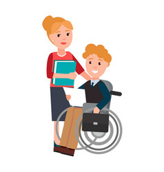 woman and disabled man poster vector image
