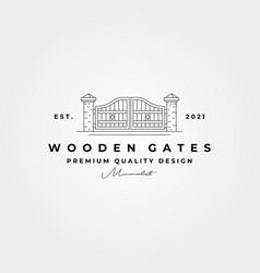 Wooden gate line logo symbol design minimal logo vector