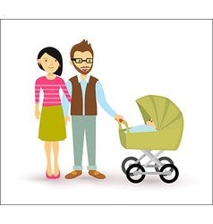 Young couple baby start family newborn people flat vector
