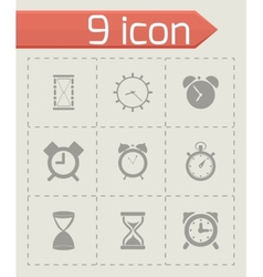 black time icons set vector image