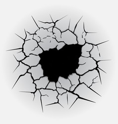 cracks circle hole vector image