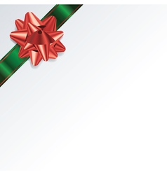 Green Christmas Present Bow and Ribbon Background vector image