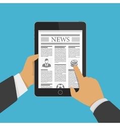 Newspaper on tablet vector image