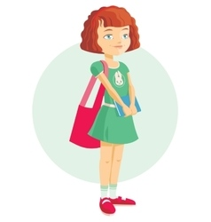 pupil girl with school backpack vector image vector image