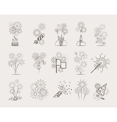 Pyrotechnic line icons vector image