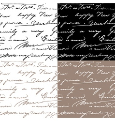 Set of samless patterns with handwriting text vector image