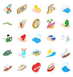 travel via boat icons set isometric style vector image