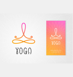 Yoga logo with man in lotus pose vector