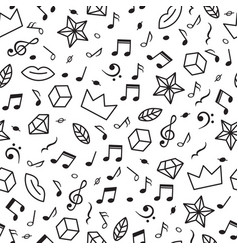 doodle seamless pattern with music notes hearts vector image
