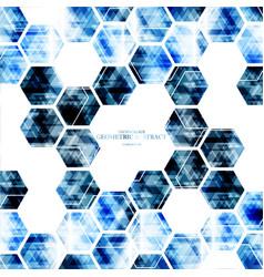 geometric technological digital blue hexagon vector image vector image