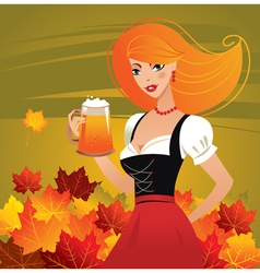 german girl serving beer on oktoberfest vector image