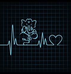Heartbeat make a lord ganesha and heart symbol vector image vector image