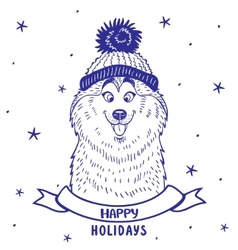 husky holiday vector image vector image