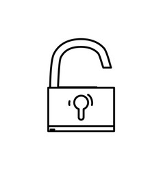 line padlock object symbol to security protection vector image