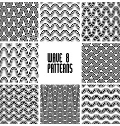 Waves black and white seamless patterns set vector image