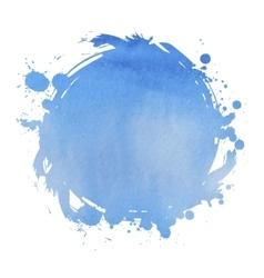 Wedding invitation card with blue watercolor blot vector image