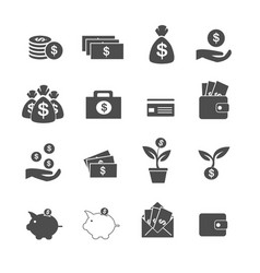 cash investment profit and assets icons set vector image vector image