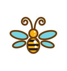 honeybee line icon isolated vector image vector image