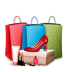 Red shoes and cosmetics with colorful shopping vector image