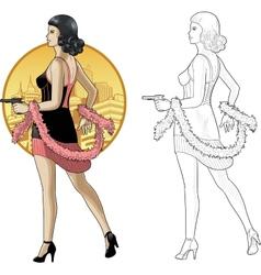 Retro asian girl in black with a gun vector image vector image