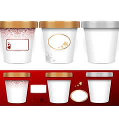 Three generic cup for ice cream with labels vector image