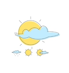 Weather Forecast Sun And Cloud Combinations vector image