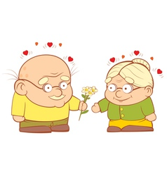An old couple in love vector image
