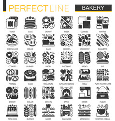 bakery and pastry classic black mini vector image vector image