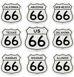 complete route 66 signs collection vector image