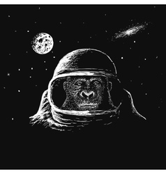 monkey astronaut in outer space vector image vector image