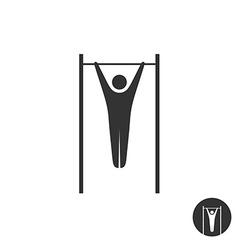 Pull up man silhouette black icon Horizontal vector image vector image