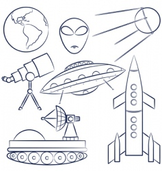 space objects collection vector image