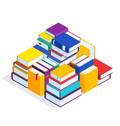 3d stack books vector