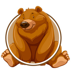 a grizzly bear circle sticker vector image