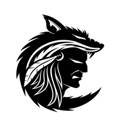 American indian in the wolf skin vector